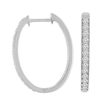 1ct tw Diamond Hoop Earrings in 10K White Gold