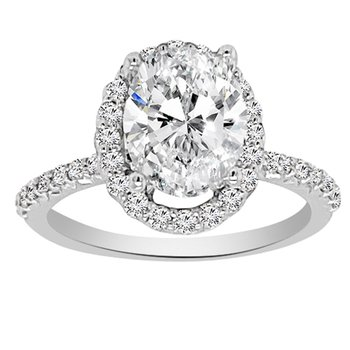 1 1/3ct tw NewBorn Lab Created Diamond Halo Engagement Ring in 14K White Gold