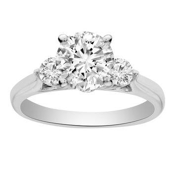 1 5/8ct tw NewBorn Lab Created Diamond Three Stone Engagement Ring in 14K White Gold