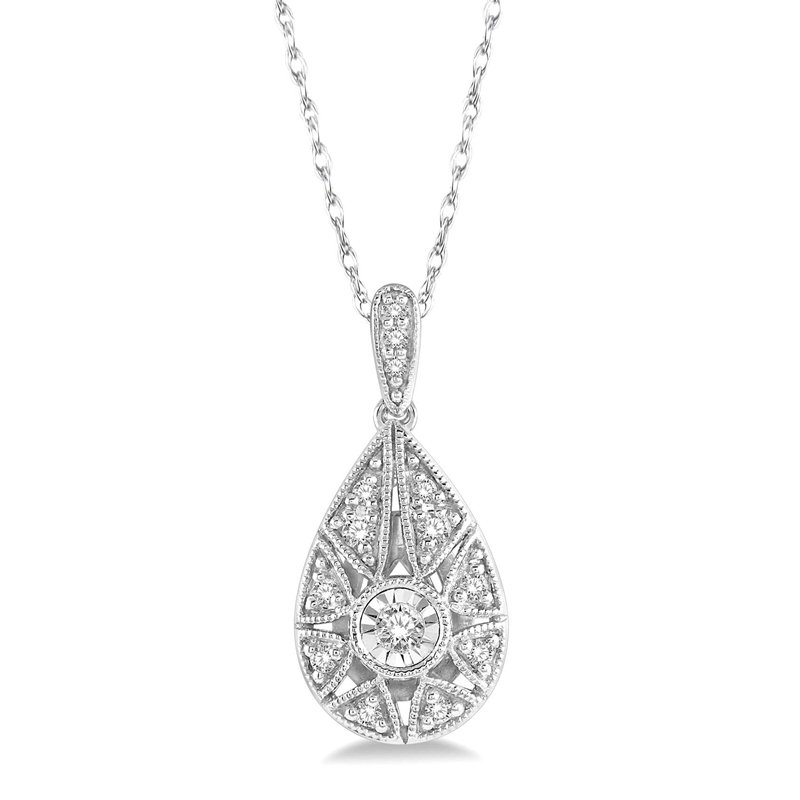 1/8ct tw Diamond Necklace in 10K White Gold