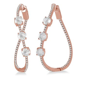 1/2ct tw Diamond & Ruby Hoop Earrings in 18K Rose Gold