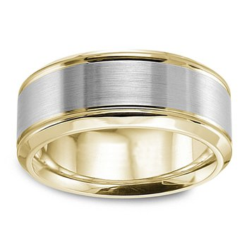 8mm Wedding Ring in 14K White & Yellow Gold