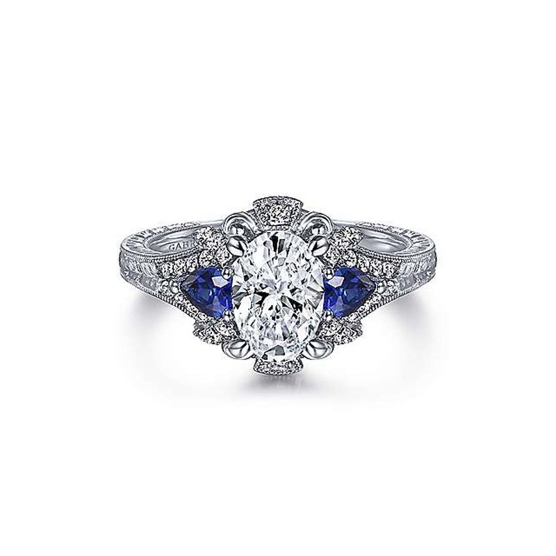 5/8ct tw Diamond & Blue Sapphire Engagement Ring Setting in 14K White Gold