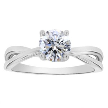 1ct tw NewBorn Lab Created Diamond Solitaire Engagement Ring in 14K White Gold