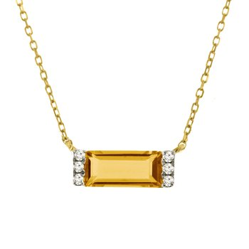 .03ct tw Diamond & Citrine Bar Necklace in 14K Yellow Gold