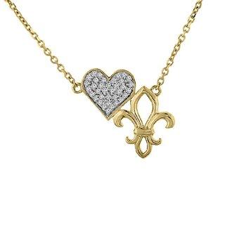 1/10ct tw Diamond Fleur De Lis & Heart Necklace in 10K Yellow Gold