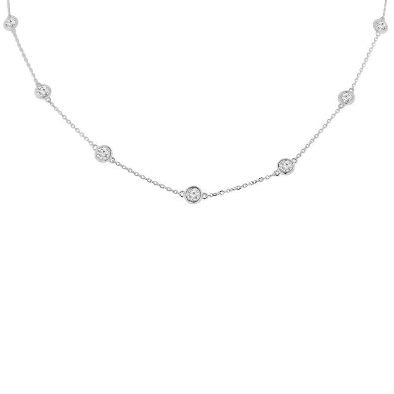 2ct tw NewBorn Lab Created Diamonds by the Yard Necklace in 14K White Gold