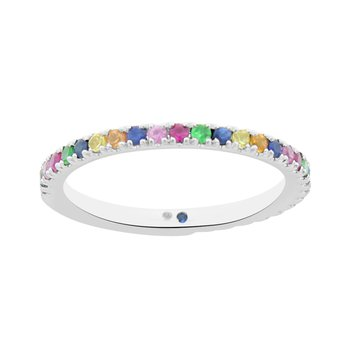 1/2ct tw Rainbow Gemstone Stackable Ring in 14K White Gold