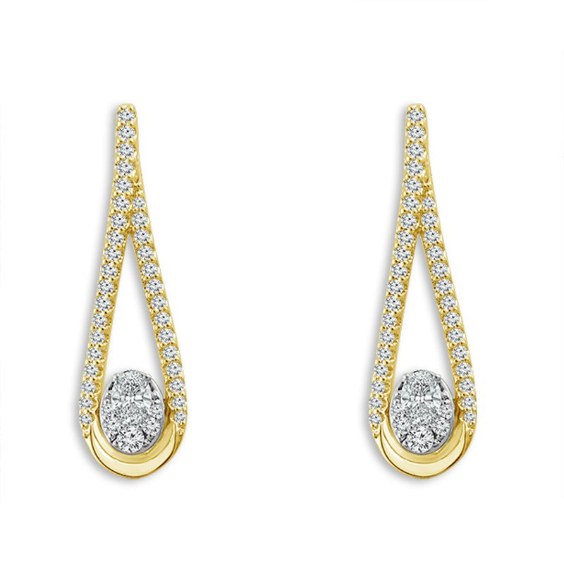 5/8ct tw Diamond Thousand Points of Light Earrings in 14K Yellow Gold