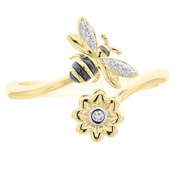 .02ct tw Diamond Garden District Collection Bee & Flower Open Ring in 10K Yellow Gold & Black Rhodium