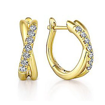 1/5ct tw Diamond Huggie Hoop Earrings in 14K Yellow Gold