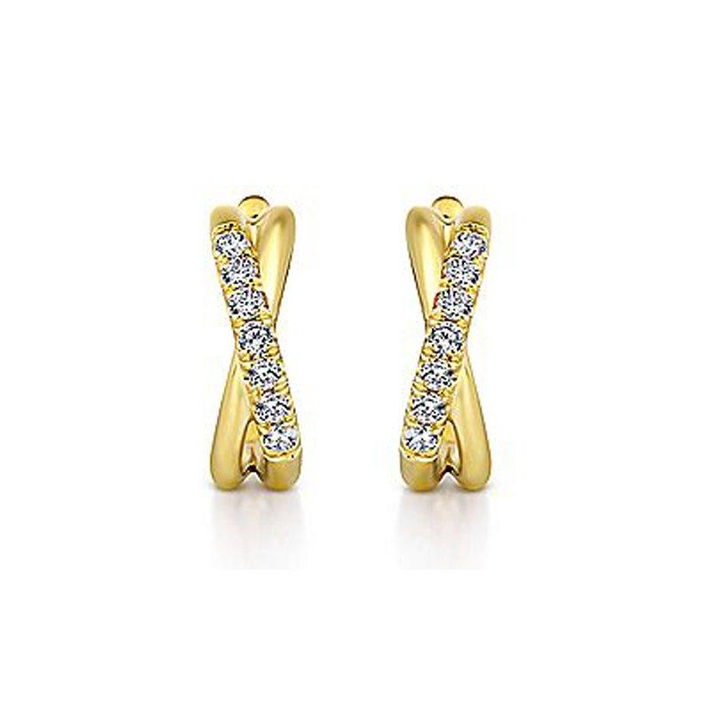 1/5ct tw Diamond Huggie Hoop Earrings in 14K Yellow Gold