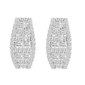 2ct tw Diamond Hoop Earrings in 14K White Gold