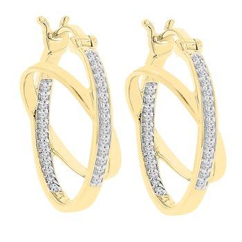 1/8ct tw Diamond Hoop Earrings in 10K White & Yellow Gold