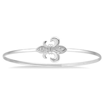 1/14ct tw Diamond Fleur De Lis Bangle Bracelet in Sterling Silver