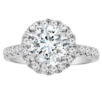 3/4ct tw Diamond Halo Engagement Ring Setting in 18K White Gold