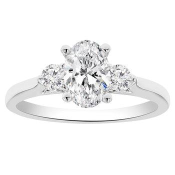1 1/8ct tw Diamond Three Stone Engagement Ring in 14K White Gold