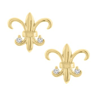 .03ct tw Diamond Fleur De Lis Stud Earrings in 14K Yellow Gold