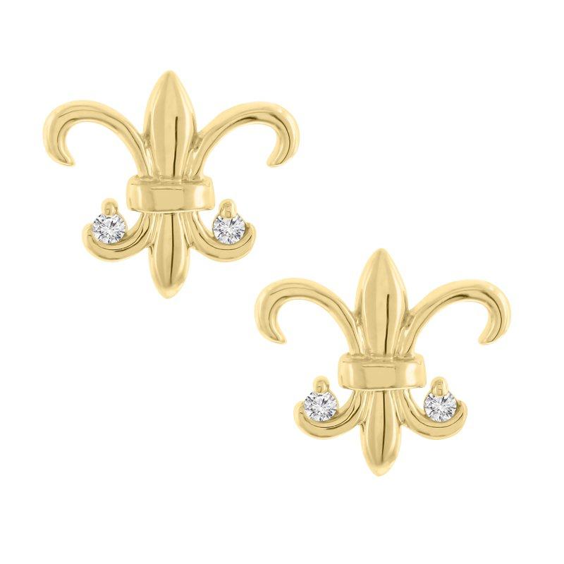 .03ct tw Diamond Fleur De Lis Stud Earrings in 14K Yellow Gold