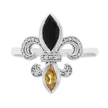 .03ct tw Diamond, Black Onyx, & Citrine Fleur de Lis Ring in Sterling Silver