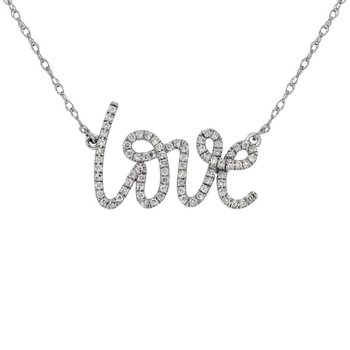 "1/5ct tw Diamond ""Love"" Necklace in 14K White Gold"