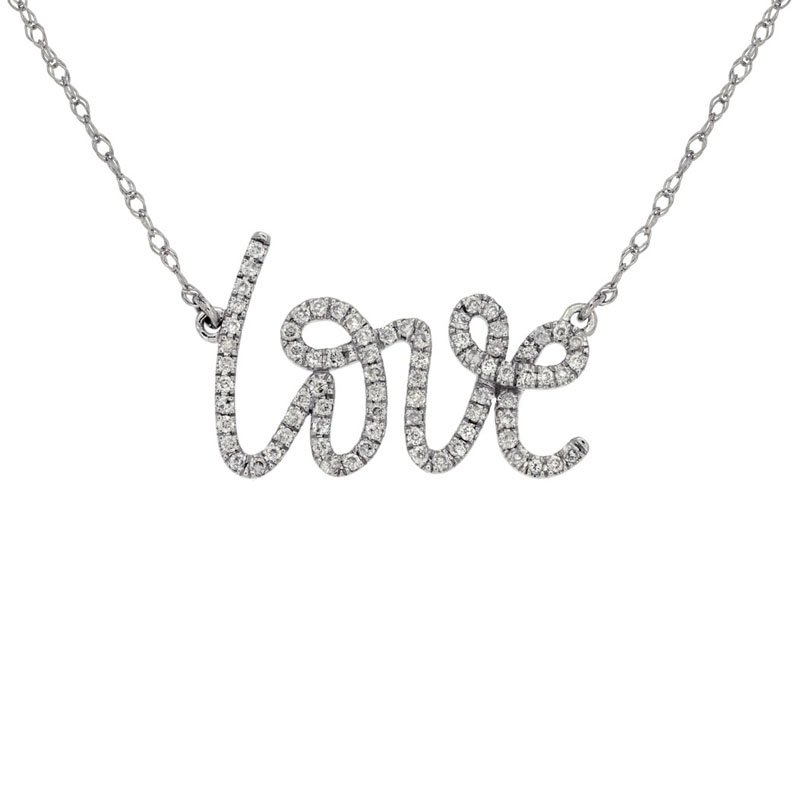 """1/5ct tw Diamond """"Love"""" Necklace in 14K White Gold"""