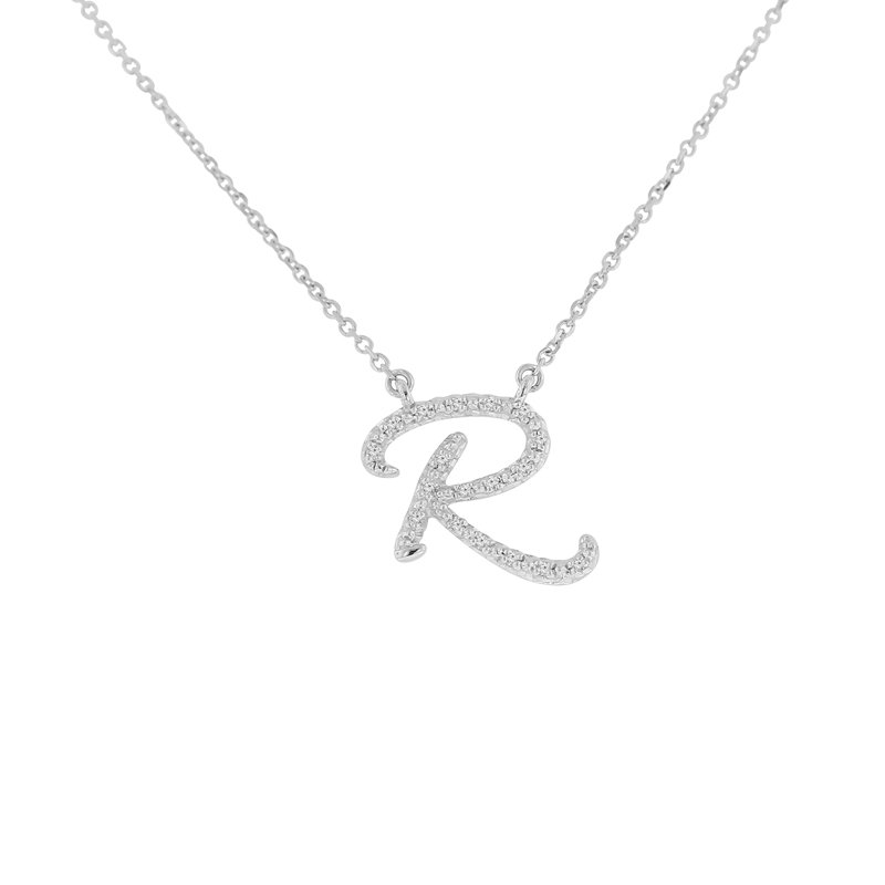 .04ct tw NewBorn Lab Created Diamond Love Letter Necklace in Sterling Silver