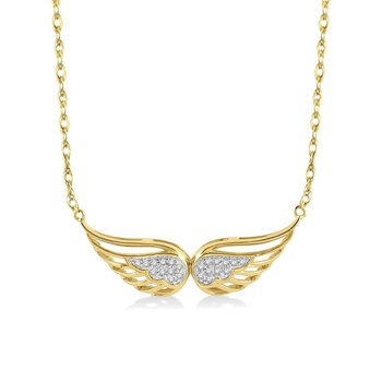 1/14ct tw Diamond Angel Wing Necklace in 10K Yellow Gold