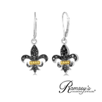 1/2ct tw Diamond Fleur de Lis Earrings in Sterling Silver