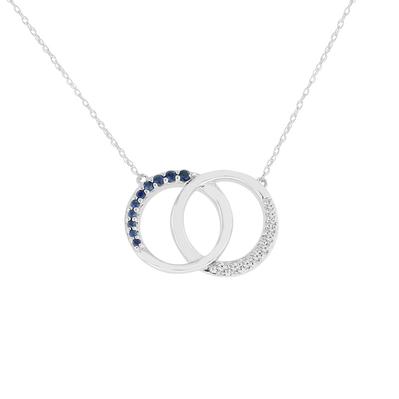 1/5ct tw Diamond & Blue Sapphire Circle Necklace in 10K White Gold