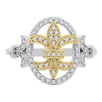 1/4ct tw Diamond Fleur De Lis Ring in 10K White & Y ellow Gold