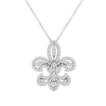 2ct tw NewBorn Lab Created Diamond Fleur De Lis Necklace in 14K White Gold