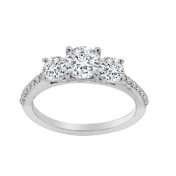 1 1/2ct tw Diamond Three Stone Engagment Ring in 14K White Gold