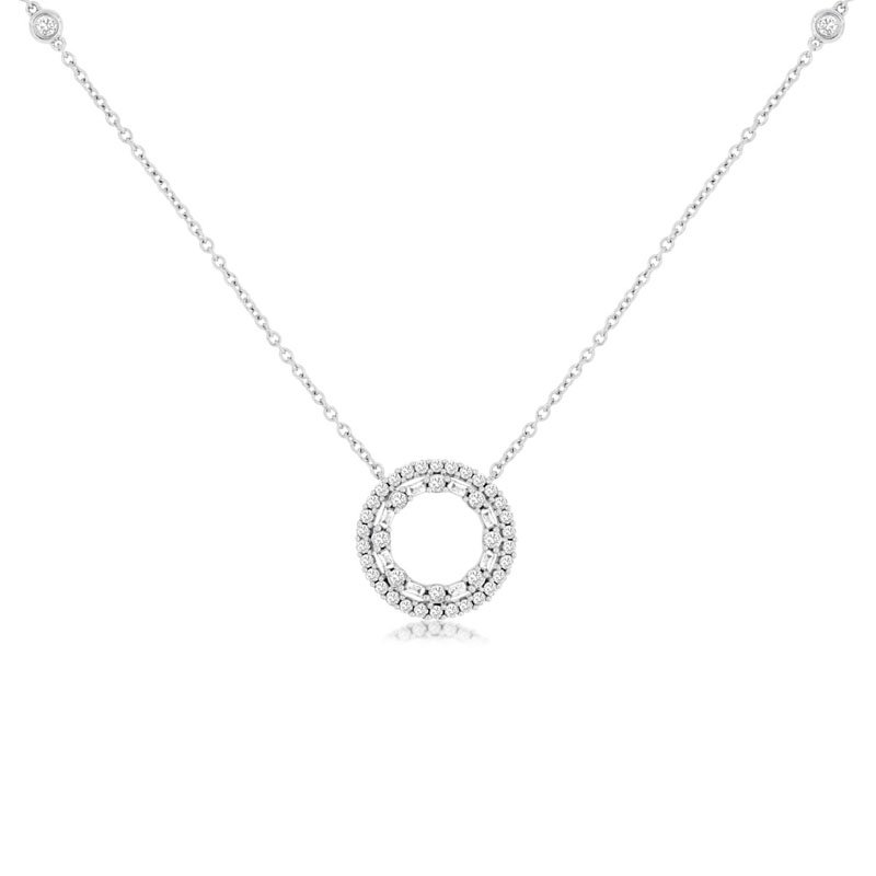 1/2ct tw Diamond Circle Necklace in 14K White Gold
