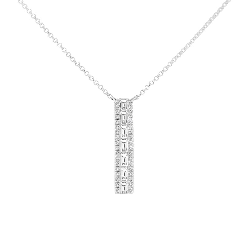 3/8ct tw Diamond Vertical Bar Necklace in 14K White Gold