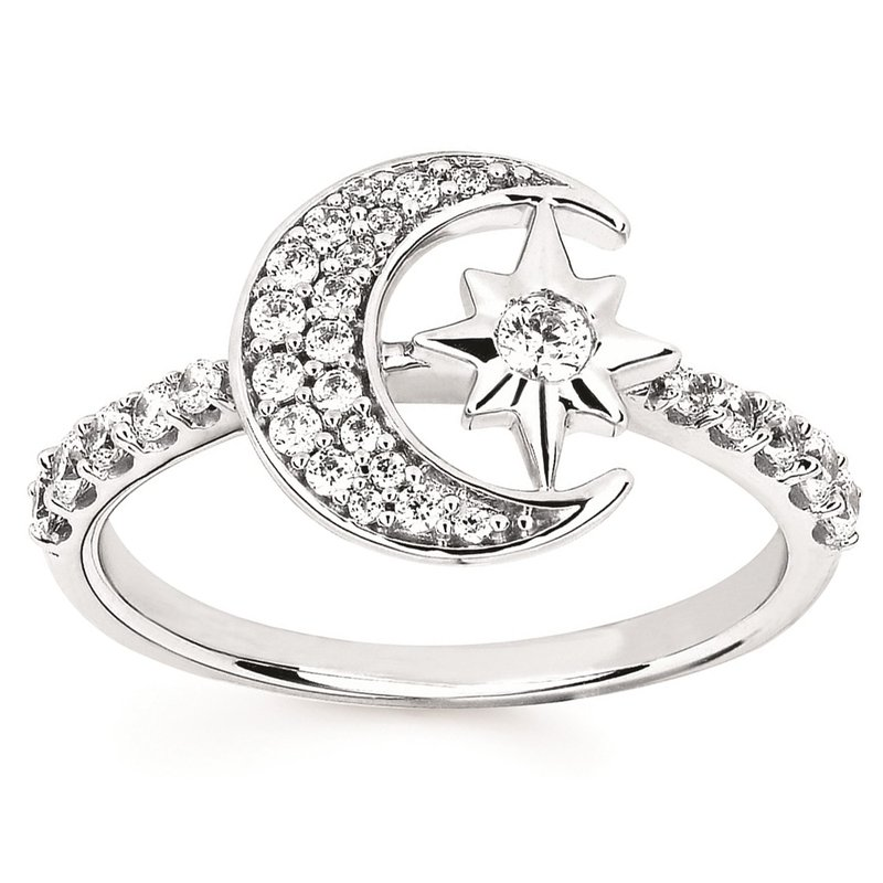 3/8ct tw Diamond Nola Collection Crescent Moon & Star Ring in Sterling Silver