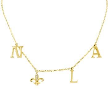 .03ct tw Diamond Nola Collection Fleur De Lis Necklace in 10K Yellow Gold