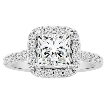 5/8ct tw NewBorn Lab Created Diamond Halo Engagement Ring Setting in 14K White Gold