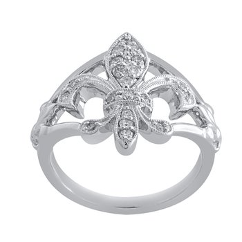 1/4ct tw Diamond Fleur de Lis Ring in Sterling Silver