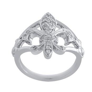 1/4ct tw Diamond Fleur de Lis Ring in Sterling Silver