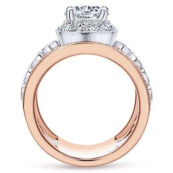 1 1/4ct tw Diamond Engagement Ring Setting in 14K White & Rose Gold