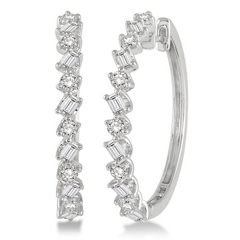 1 1/2ct tw Diamond Hoop Earrings in 14K White Gold