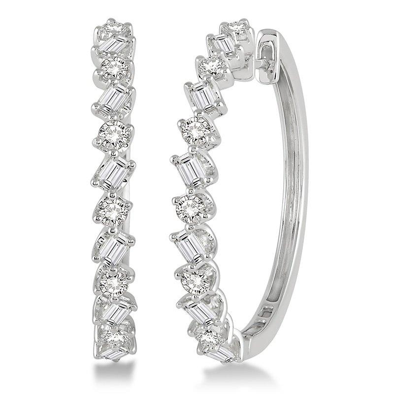 1 1/2ct tw Diamond Hoop Earrings in 14K White Gold