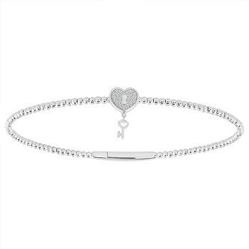 1/10ct tw Diamond Flexi Collection Bangle Bracelet in 14K White Gold