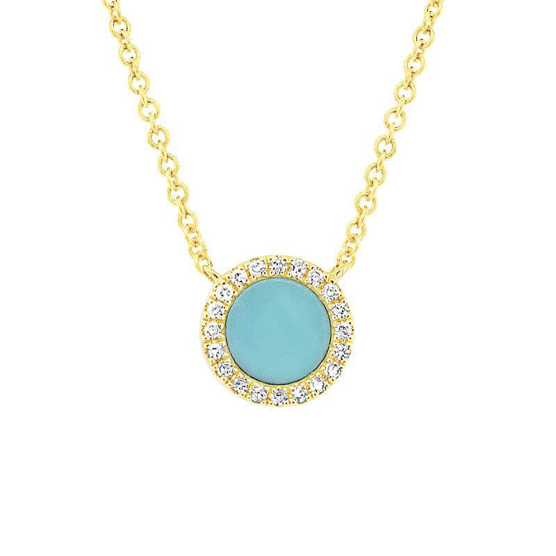 1/3ct tw Diamond & Composite Turquoise Necklace in 14K Yellow Gold