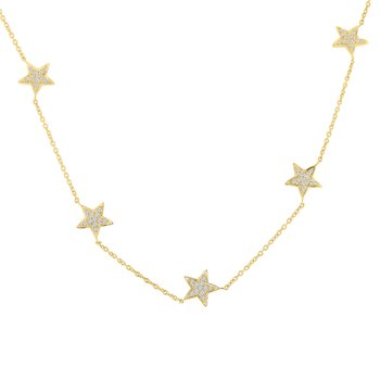 1/3ct tw Diamond Celestial Star Necklace in 14K Yellow Gold