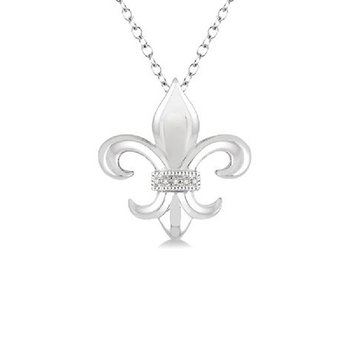 .02ct tw Diamond Fleur de Lis Necklace in Sterling Silver