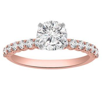 1/3ct tw Diamond Engagement Ring Setting in 14K Rose Gold