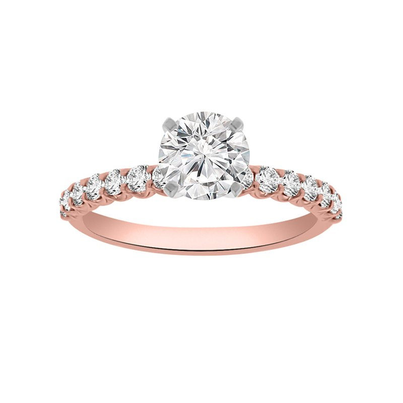 1/3ct tw Diamond Engagement Ring Setting in 14K Rose Gold