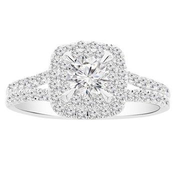 1ct tw NewBorn Lab Created Diamond Halo Engagement Ring in 14K White Gold